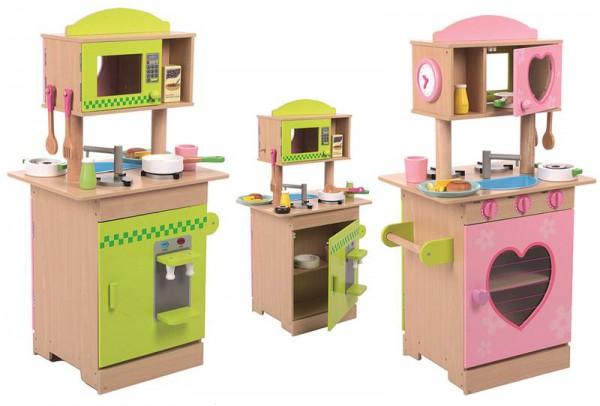 Küche Holz Rosa/Grün mit Zubehör