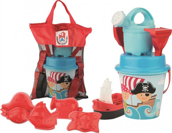 Piraten Sandeimer Set mit Strandtasche