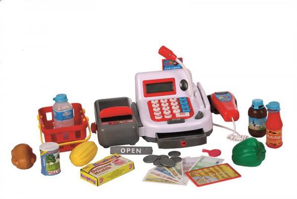 Elektrische Kasse in weiß mit Scanner und Einkaufskorb