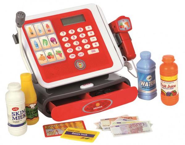 Elektronische Kasse mit Scanner und Zubehör in rot