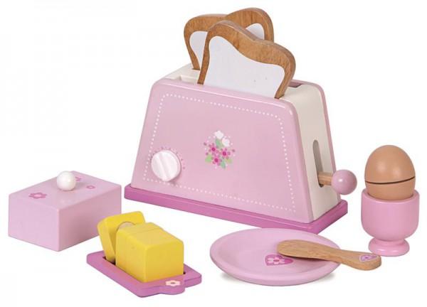 Frühstücks-Set mit Toaster aus Holz und Zubehör