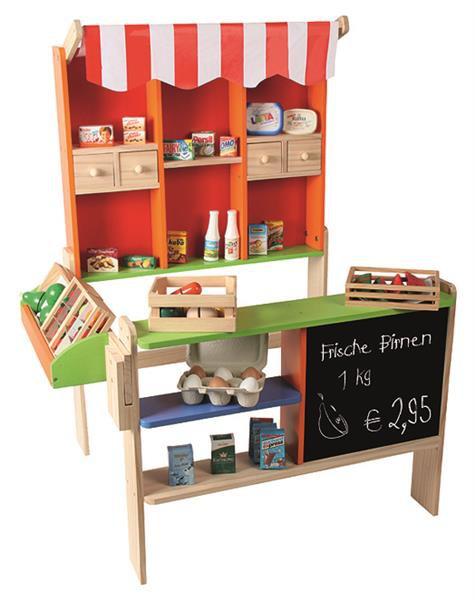 Kaufladen aus Holz mit Tafel und Theke