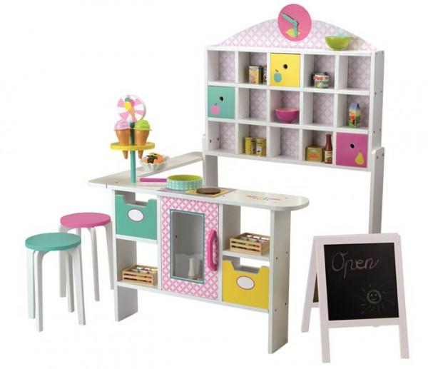 Holz-Kaufladen mit Theke, 2 Hocker und Tafel