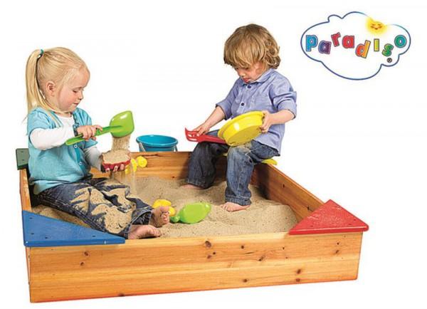 Sandkasten aus Holz mit Ecksitz & Abdeckung