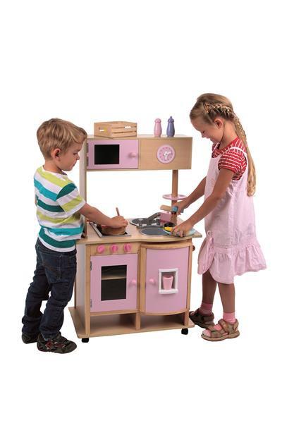 Küche Holz rosa/natur - 29-teilig